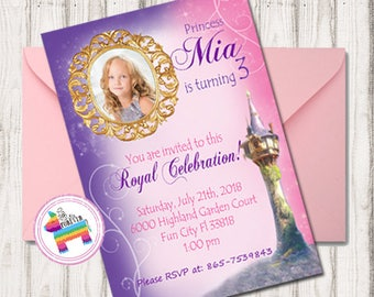 Rapunzel Invitation - Tangled Birthday Invitation - Rapunzel Photo Invite -  - Rapunzel Birthday Invitation