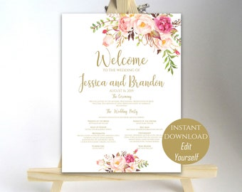 Wedding Program Sign Welcome Wedding Sign Wedding Sign Wedding Poster Template Instant Download PDF 16x20, 18x24, 20x30, 24x36 Pastel Blooms