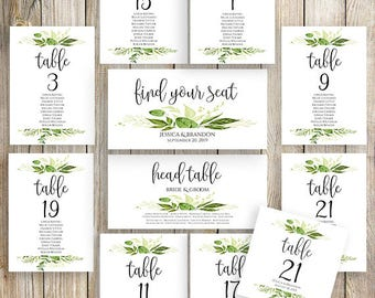 Printable Wedding Seating Template Seating Plan Wedding Seating Cards Table Cards Seating Cards Floral Seating Chart Template Greenery
