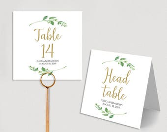 Personalized Table Numbers Printable Wedding Table Numbers Wedding Table Number Template Folded Double Sided PDF Instant Download Jasmine