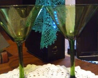 Vintage Emerald green martini glasses