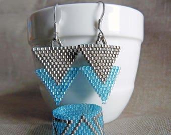 Bohemian boho chic adornment bohostyle Miyuki triangle 2 piece Indian huichol blue and silver peyote stitch