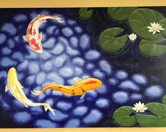 Original, hand painted Koi Pond and Lilies.