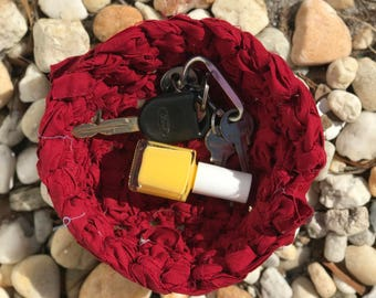Red Crocheted Rag Bowl