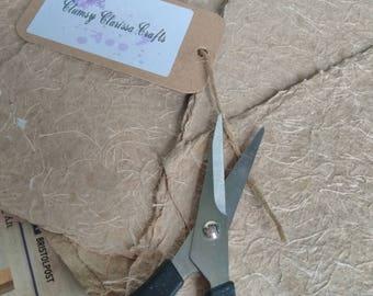 Handmade Threaded Recycled Kraft Paper Sheets
