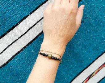 Bohemian lava stone bracelet