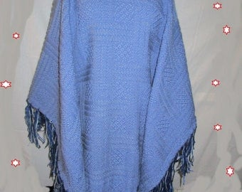 large blue poncho wool fringe
