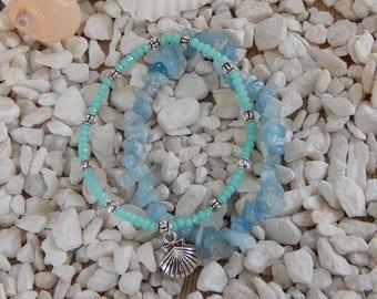 Set Two aquamarine beads bracelets