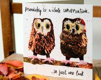 Friendship Card, Owls, Best Friend, Bird Art, Birthday Card, Quirky