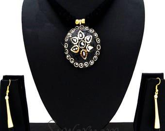 Beautiful Black Dori Mosaic Necklace - Indian Jewellery / Bollywood Jewelry