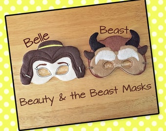 Beauty and the Beast Inspired Felt Masks- Belle-Beast-Child's Dress Up Imaginary Play- Birthday Party Favor-Photo Shoot-Theme Party