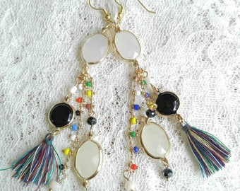 Mixed media tassel earrings in gold
