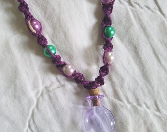 Fairy bottle hemp necklace