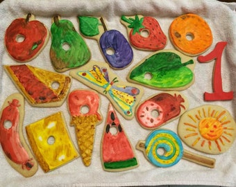Hungry Caterpillar Cookies, 1st Birthday, Party Favors, Baby Shower, Cookies, Hand Painted
