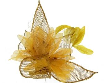 Gold sinamay hair fascinator clip , Weddings, Races, Ladies day