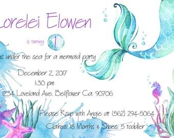 Mermaid Birthday Invitation, Mermaid Babyshower