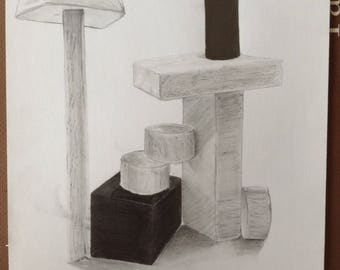 Minimalistic Cubic Graphite Drawing