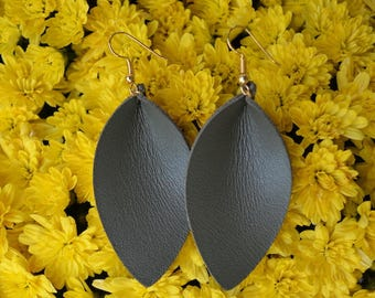 Olive Green Leather Earrings. Genuine leather, handmade, lightweight, and chic!