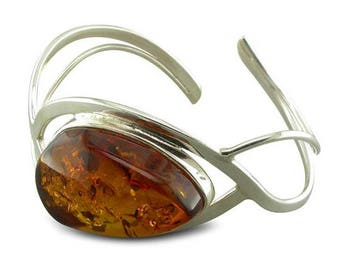 Large Cognac Amber In Waves Sterling Silver Bangle