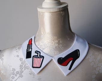 White collar necklace with embroidery patches black heels red lipstick shake detachable peter pan collar removeable accessories for women