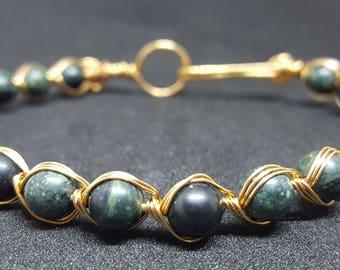 Kambaba Jasper wire bracelet