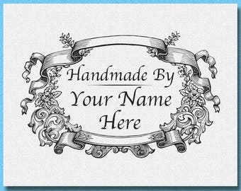 Personalized Floral Wreath Name Stamp, handmade by Stamp, Floral Stamp thanks for your order stamp