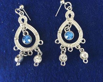 Silver Circle Earrings with stone in middle and Dangle