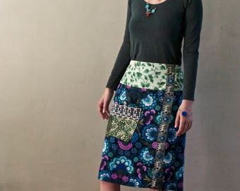 Embellished designer-maker pull-on slim fit women's skirt upcycled retro fabric with feature pocket, midi, boho style
