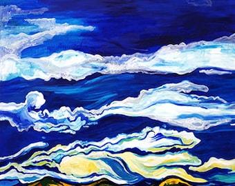 Blue sky - original painting, nature, sky, blue, livingroom, bedroom