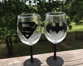 Super Man and Batman Themed Black Glitter Stem Wine Glasses set of 2