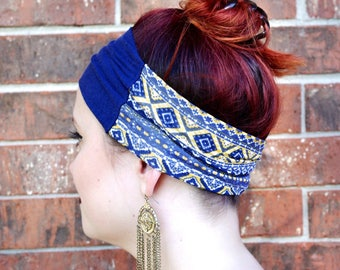 Navy and Yellow Geometric Headband