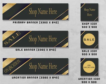 Premade Baner and Icon Set for Etsy & Facebook, Shop Front / Cover Image, Business Design / Advertising.