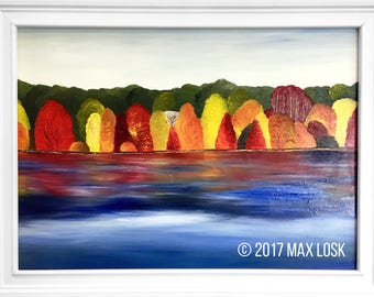 "Original Fine Art 36"" x 50"" Landscape Oil Painting - ""Fall in Hudson Valley"""
