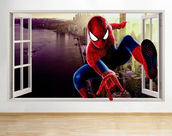 J977 Spiderman Skyline Cool Kids Window Wall Decal 3D Art Stickers Vinyl  Room Kids Bedroom Baby
