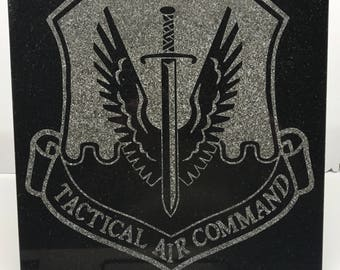 """12"""" x 12"""" Black Granite Tile Laser engraved with the USAF Tactical Air Command Patch"""