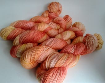 Sunset Dreams, hand dyed, sport weight, super wash merino wool