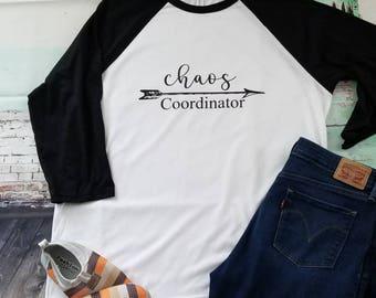 Chaos coordinator baseball tee