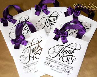 5Thank You wedding gift bags with satin ribbon, bow and your tag, Elegant wedding bags, wedding favor bags, welcome wedding bags, party bags