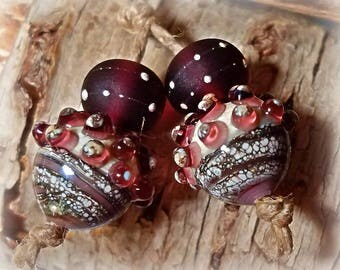 Amethyst Acorns ** Handmade Lampwork Beads** Acorns**