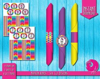 INSTANT DOWNLOAD: Magical Unicorn Rainbow Birthday Party Celebration Napkin Ring Rings Tissue Wrapper Hello Pony Kitty Pride PDF