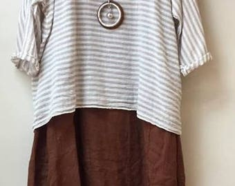 LAGENLOOK 3pc outfit Rust & White fits 12-18uk (USA 8-14) LINEN 100%