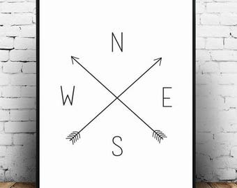 Compass;Cross;Modern;Wall Hanging;Home Decor;Wall Print;Poster;Gift Idea;Minimal;A4 Card