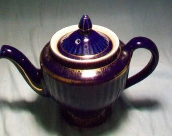 Hall Pottery Dark Blue Teapot Gold Scroll Work