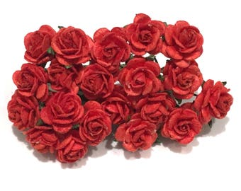 Red Open Mulberry Paper Roses Or015