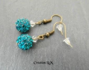 Blue zircon earring Pearl bronze shamballa