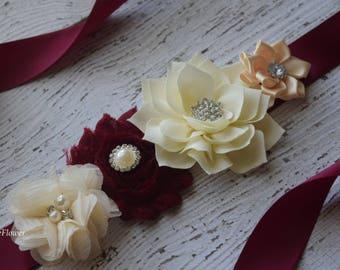 Burgundy ivory cream sash ,flower Belt, maternity sash, wedding sash, flower girl sash, maternity sash belt