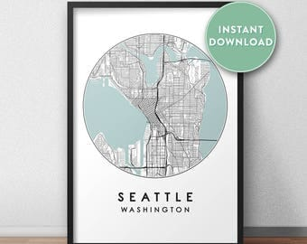 Seattle street map Etsy