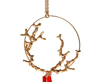 Red coral branches necklace 18 karat gold plated