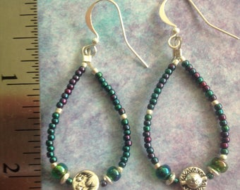Sun/moon beaded earrings