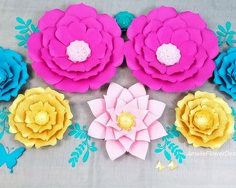 Large paper flowers nursery wall. Nursery paper flowers wall. Flowers home decor. Babyshower flowers backdrop. Party flowers backdrop.